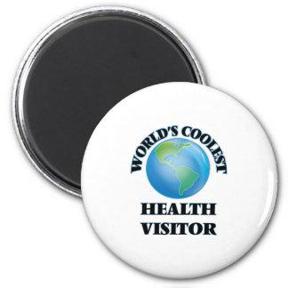 Le visiteur de la santé le plus frais du monde magnet rond 8 cm