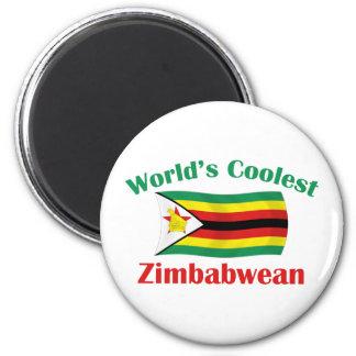 Le Zimbabwéen le plus frais du monde Magnet Rond 8 Cm