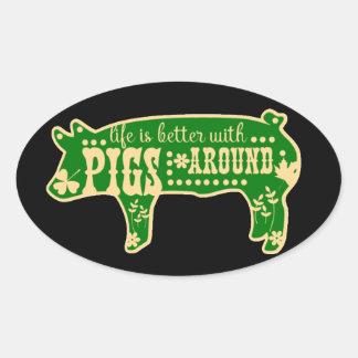 Leben besser mit Schwein-Schwarz-Oval-Aufklebern Ovaler Aufkleber