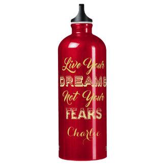 Leben Ihre Traum-Name-Reiseflasche Aluminiumwasserflasche