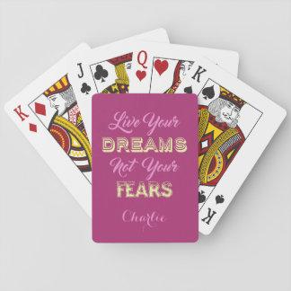 Leben Ihre Träume individueller Name u. färben Spielkarten
