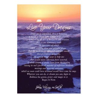 Leben Ihre Träume INSPIRIEREND KARTEN Jumbo-Visitenkarten