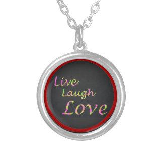 Leben Lachen-Liebe-Halskette Versilberte Kette