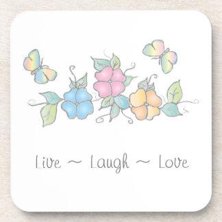 Leben Schmetterlings-BlumenAquarell des Lachen-  Untersetzer