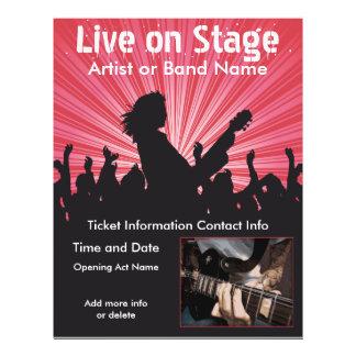 Leben Sie auf Bühne-Musik-Flyer 21,6 X 27,9 Cm Flyer