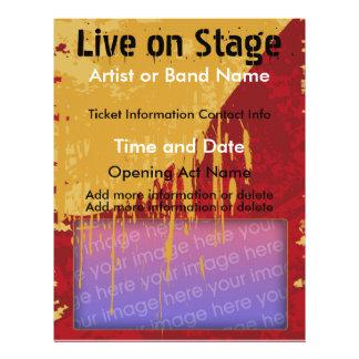Leben Sie auf Bühne-Rot und TAN-Musik-Flyer