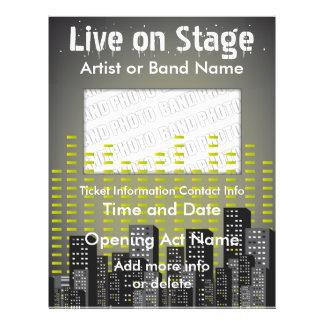 Leben Sie auf Bühne-Stadt-Musik-Flyer