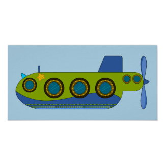 Leben Sie im blauen Unterseeboot Poster