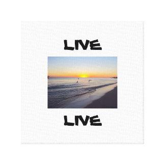 Leben Sie mit Sonnenuntergang auf Strand-Leinwand Gespannte Galerie Drucke