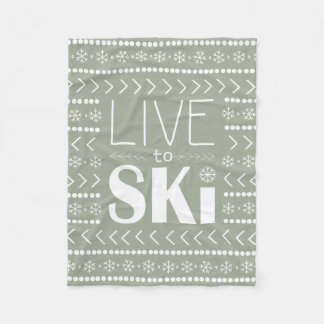 Leben Sie, um Ski zu fahren Decke - Olive Fleecedecke