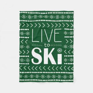 Leben Sie, um Ski zu fahren Decke - Waldgrün Fleecedecke