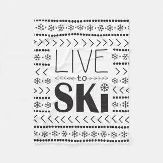 Leben Sie, um Ski zu fahren Decke - white1