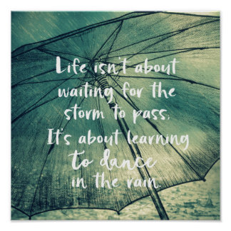 Leben-Tanzen im Regen-Zitat Poster