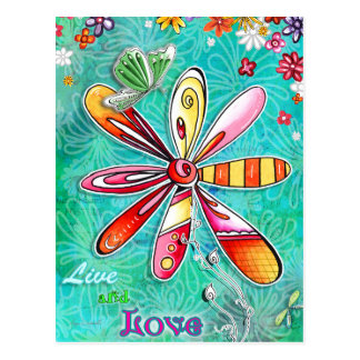 Leben und Liebe-Blumenpostkarte Postkarte