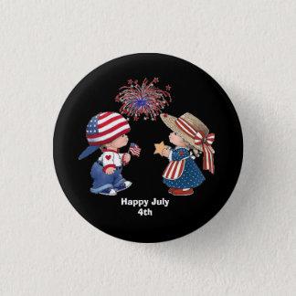 Lebhafte am 4. Juli Kinder Runder Button 3,2 Cm