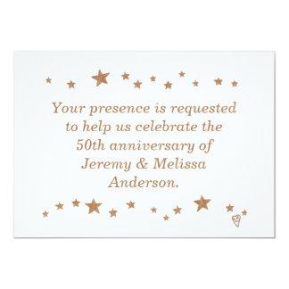 Lebhafte Goldstern-50. Jahrestags-Einladungen 12,7 X 17,8 Cm Einladungskarte