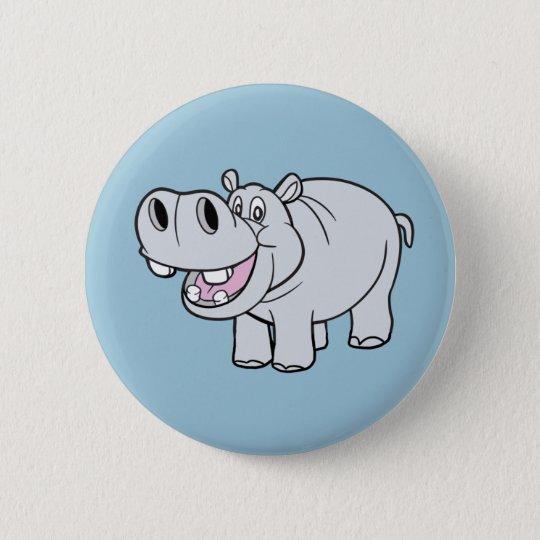 Lebhafter Flusspferd-Knopf Runder Button 5,7 Cm