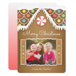 Lebkuchen-Haus-WeihnachtsFoto-Karte 12,7 X 17,8 Cm Einladungskarte