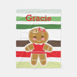 Lebkuchen-Mädchen-Weihnachtsdecke Fleecedecke