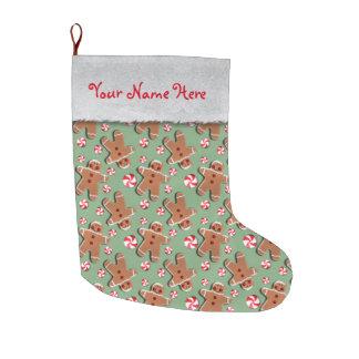 Lebkuchen-Mann-Plätzchen-Süßigkeits-Grün Großer Weihnachtsstrumpf