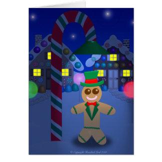 Lebkuchen-Mann unter Süßigkeits-Lampe Karte