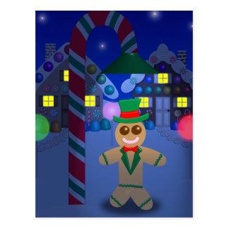Lebkuchen-Mann unter Süßigkeits-Lampe Postkarte