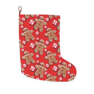Lebkuchen-Plätzchen-Süßigkeiten rot Großer Weihnachtsstrumpf