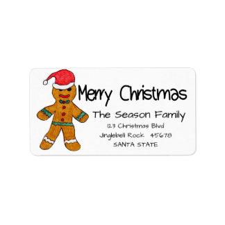 Lebkuchenmann Adressen-Etikett froher Weihnachten Adressaufkleber