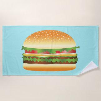 Leckere Hamburger-Illustration auf Blau Strandtuch