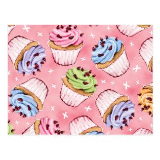 Leckere kleine Kuchen und Kuss-Postkarten Postkarte