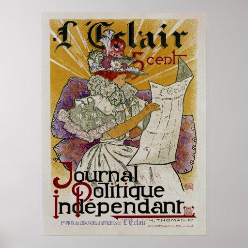 L'Eclair ~ unabhängige politische Zeitung Posterdruck