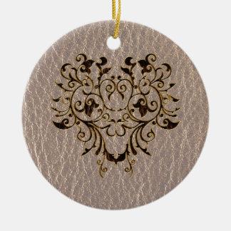 Leder-Blick Blume 2 weich Rundes Keramik Ornament
