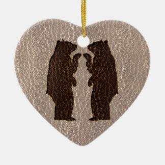 Leder-Blick, der weich Wedding ist Keramik Herz-Ornament