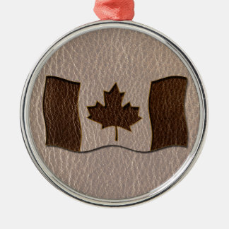 Leder-Blick Kanada-Flagge weich Rundes Silberfarbenes Ornament
