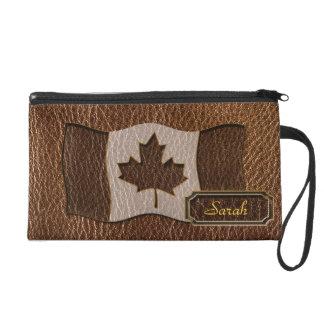 Leder-Blick Kanada-Flagge Wristlet