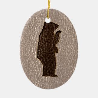 Leder-Blick schwarzer Bär weich Ovales Keramik Ornament
