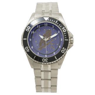 Leder-Blick Ureinwohner-Tierkreis-Eule Armbanduhr