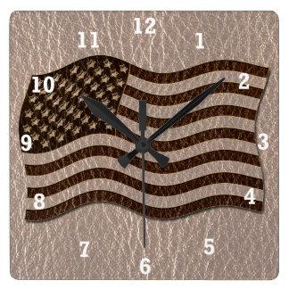 Leder-Blick USA-Flagge weich Quadratische Wanduhr