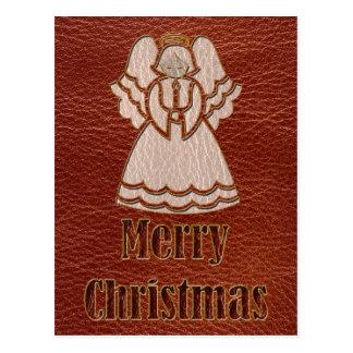 Leder-Blick Weihnachtsengel Postkarte