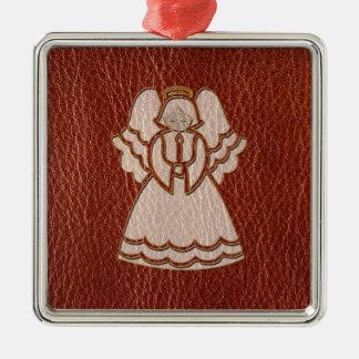 Leder-Blick Weihnachtsengel Quadratisches Silberfarbenes Ornament