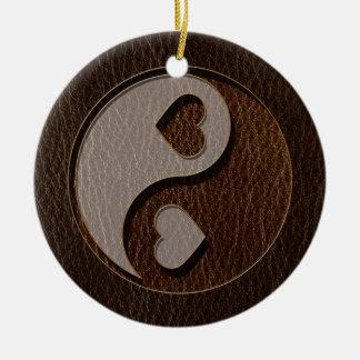 Leder-Blick Yin Yang Herz-Dunkelheit Keramik Ornament