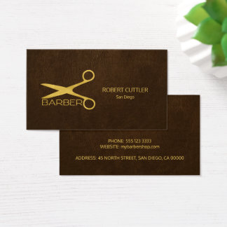 Lederblick des Friseur-Stylistluxusgolddunklen Visitenkarte
