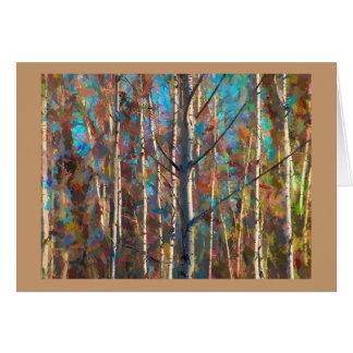 Leere Gruß-Karte mit farbigen Pappel-Bäumen Karte