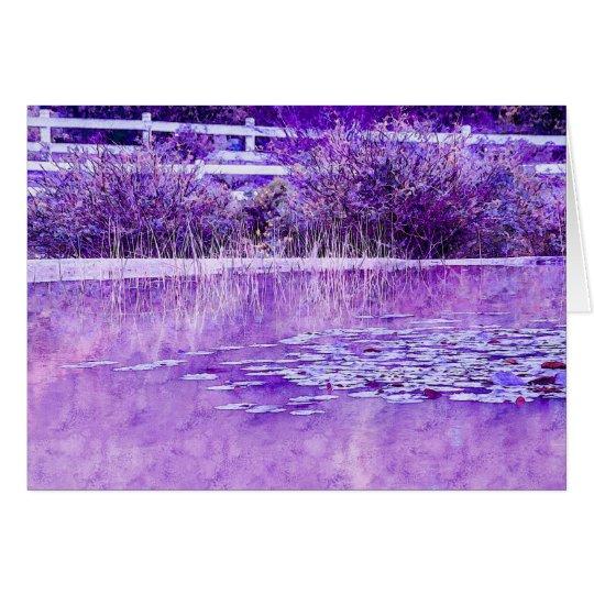 Leere Gruß-Karte mit lila Teich-Entwurf Grußkarte