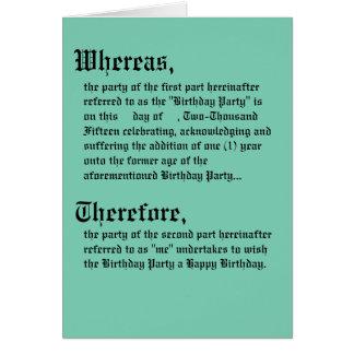 Legale Vertrags-Geburtstags-Karte Grußkarte