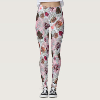 Leggings Roses, coeurs et motif de fleurs