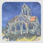 L'église à l'Auvers-sur-Oise Autocollants Carrés