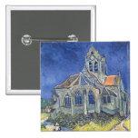 L'église à l'Auvers-sur-Oise Badge Carré 5 Cm