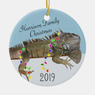 Leguan-Familien-Foto-Weihnachtsverzierung Keramik Ornament