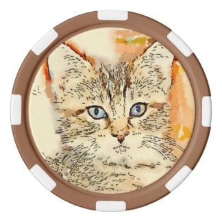 """Lehm-Poker-Chips - """"blauer mit Augen Kitty """" Poker Chips"""